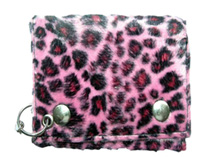 Pink leopard fake fur wallet with chain