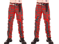 Red Zip Bondage Tartan Pants