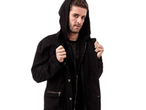 Winter Jacket with Hood and Skull Buttons