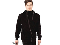 Hooded Jacket with asymetric Zipper
