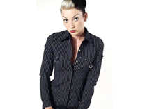 Long sleeved pinstripe shirt with D-rings