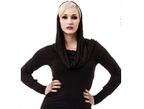 Hooded Top with slouchy Cowl Neckline