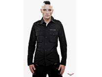 Mens black shirt with star and skull details