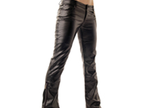 Latex look trousers. Bootcut, with zips