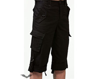 Mens Black Shorts with Side Pockets