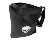 Black Tote Bag with Grey Skull