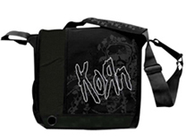 KORN Black Messenger Bag with Logo Print